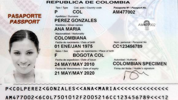 Nouveau Passeport Colombien