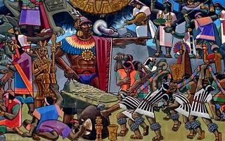 Mural en Cuzco acerca de los Incas
