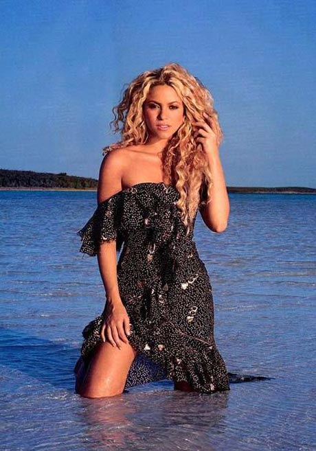 Shakira on the beach