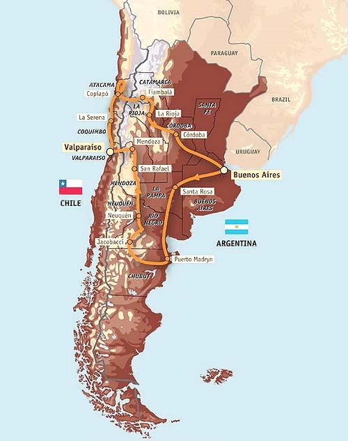 Parcours du Dakar 2009 en Argentine et au Chili