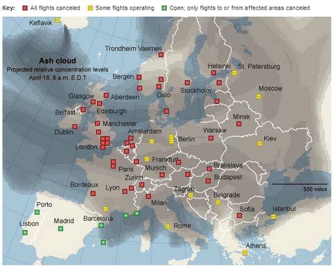 Carte des principaux aéroports fermés