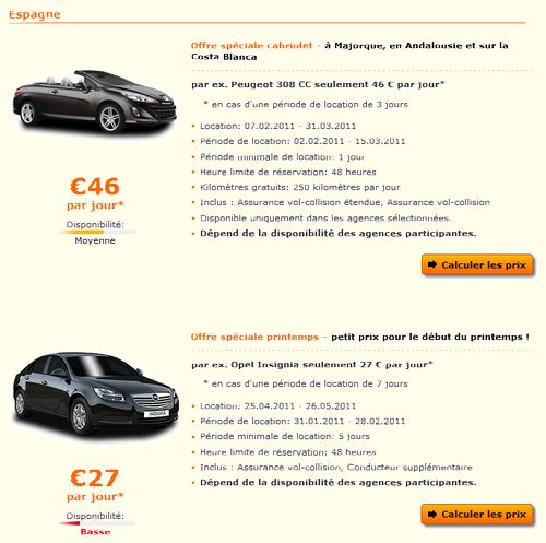 magazine du tourisme bons plans location de voiture pas ch re en espagne. Black Bedroom Furniture Sets. Home Design Ideas
