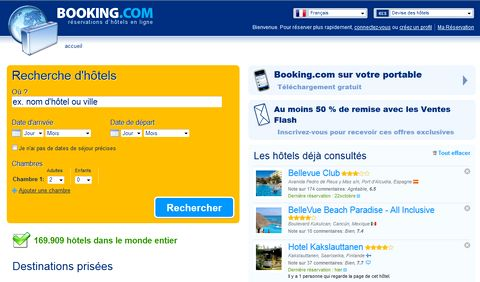 Magazine du tourisme sites de voyage booking le syst me for Reservation hotel gratuit en ligne